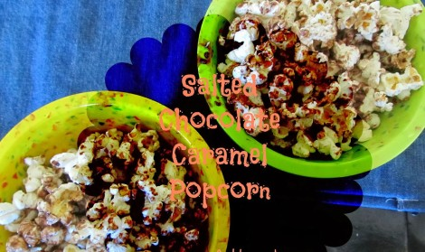Salted Chocolate Caramel Popcorn in minutes! This treat can be whipped up in a few short minutes and is perfect for movie night, girl's night in, or just because.